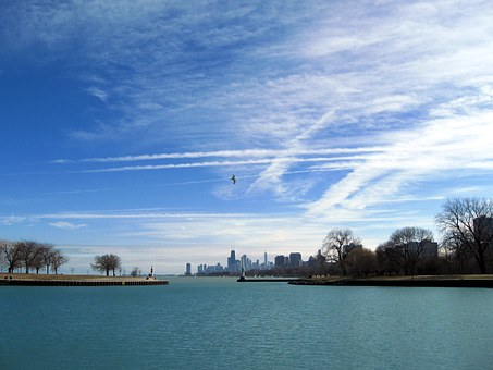 Chemtrails, Sky, Blue, Contrails, Chicago, Clouds