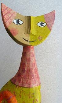 Work Of Art, Image, Cat, Face, Eyes, Pastel Shades