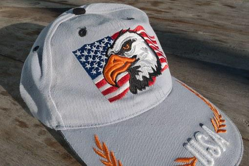 Cap, Baseball Cap, Plate Cap, Flag, Stars And Stripes