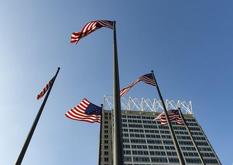 Flags, Us, Usa, Baltimore, City, Urban, Downtown