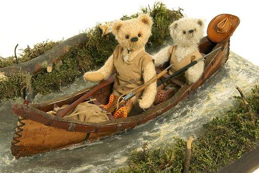 Dolls, Bears In The Boat, Papier Mache, Folk Art Items