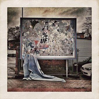 Advertising Board, Rain, Schuddelwetter, Leaves, Drip