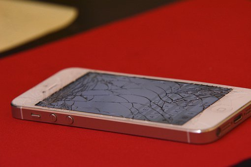 Iphone, Cracked, Shattered, Mobile, Screen, Phone