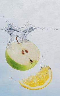 Apple, Lemon, Water Bath, Picture Composition