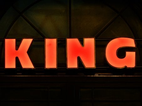Advertisement, Neon Sign, King, Red, Shield