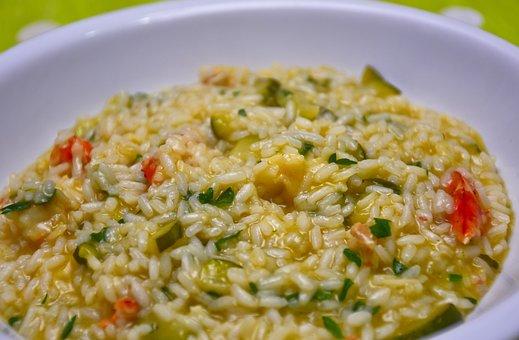 Rice, Risotto, Kitchen, Shrimp, Zucchini, Restaurant