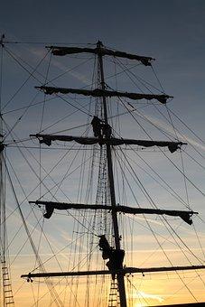 Netherlands, Harlingen, Sunset, Sail, Mast, Boat