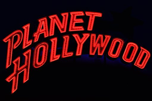 Planet Hollywood, Neon, Advertising, Illuminated, Sign