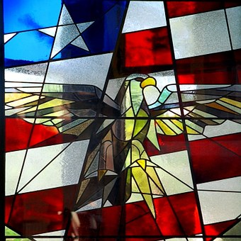 America, Bald, Eagle, Flag, Stained, Glass, Patriotic