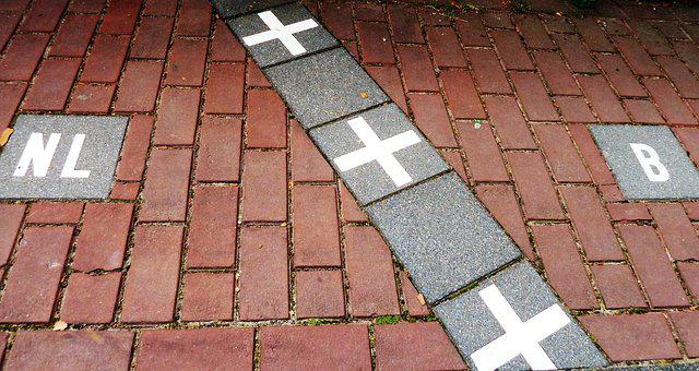 Street, Border, Belgium, Netherlands, The Kempen, Stone