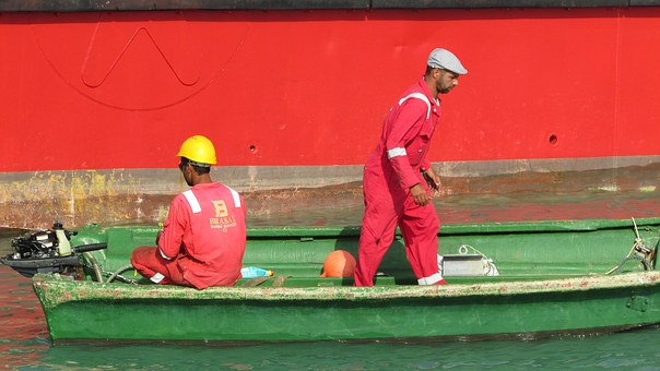 Workers, Ship, Working, Maritime, Uniform, Red, Safety
