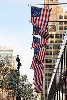 New York City, Usa, Flags, American, Big Apple