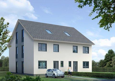 Semi-detached House, Villa, Rendering, Visualization