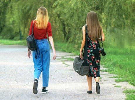 Women, Walking, Park, Girls, People, Long Hair, Casual