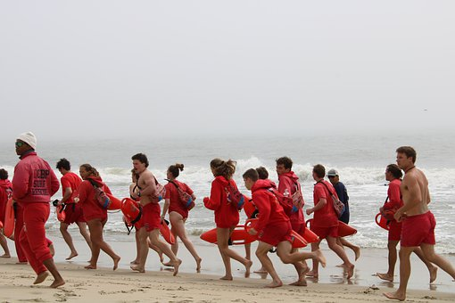 Lifeguards, Beach, Run, Running, Group, People, Rescue