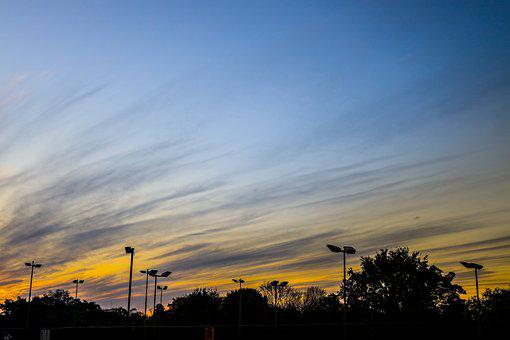 Sunset, Tennis Court, Pretoria, Silhouette, Trees, Sky