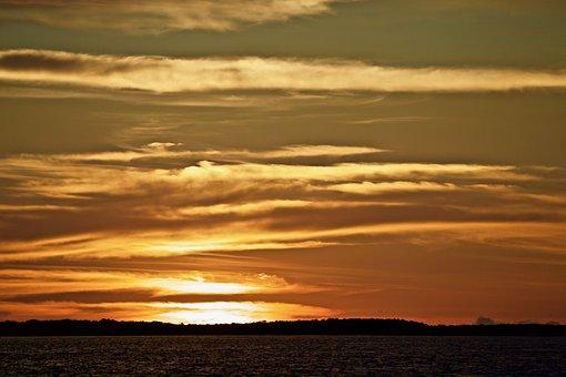 Sunset, Sea, Clouds, Sky, Sunlight, Silhouette, Water