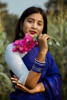 Woman, Fashion, Flowers, Portrait, Traditional Clothing