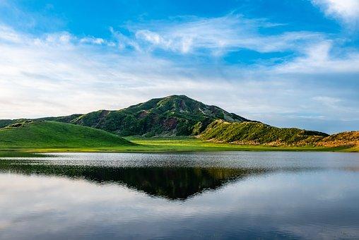 Caldera, Lake, Mountain, Water, Reflection, Sky, Clouds
