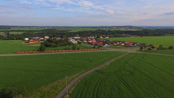Fields, Village, Rural, Panorama, Houses, Road, Farm