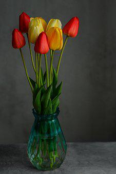 Tulips, Flowers, Vase, Plant, Yellow Tulips, Red Tulips
