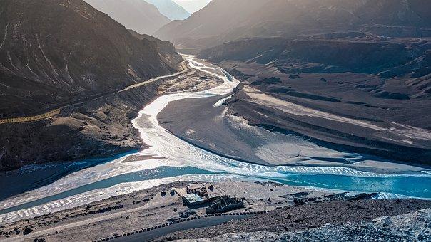 River, Leh, India, Kashmir, Mountains, Laddakh