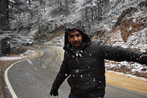Snow, Winter, Man, Portrait, Jacket, Joy, Happy