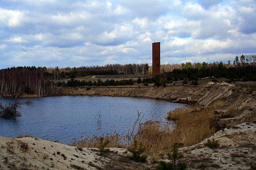 Lake, Observation Tower, Open Pit Mining, Reclamation
