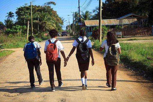 Students, Walking, Road, Children, School Children