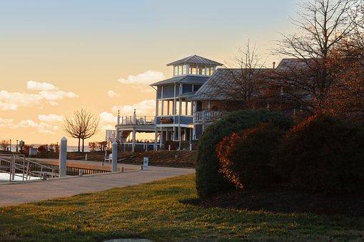Harbor, Sunset, Shoreline, Restaurant, Eastern