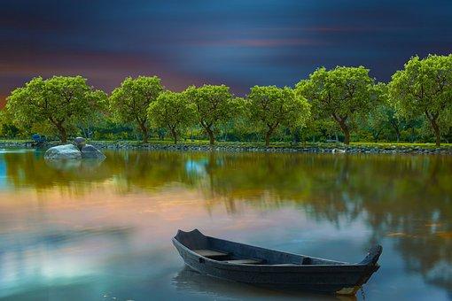 Lake, Boat, Trees, Reflection, Water, Canoe, Bank