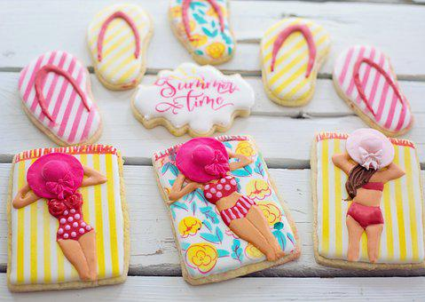 Cookies, Beach Babes, Summer, Bathing Beauties, Pastry