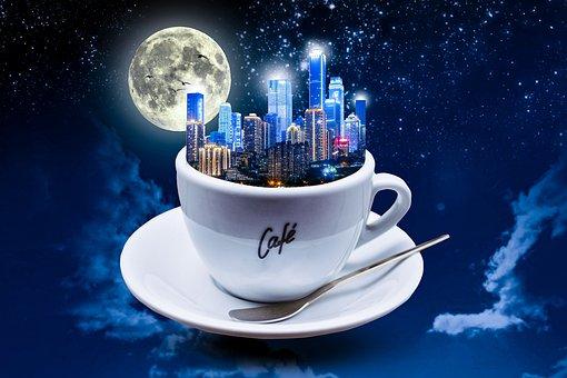 City In Tea Cup, Sky Scrapers, Moon, Night, Birds