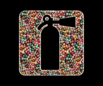 Fire Extinguisher, Beads, Icon, Beaded, Extinguisher