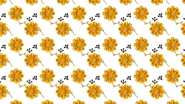 Flowers, Pattern, Background, Floral, White, Gold