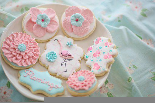 Cookies, Flamingo, Flowers, Pastry, Baked, Royal Icing