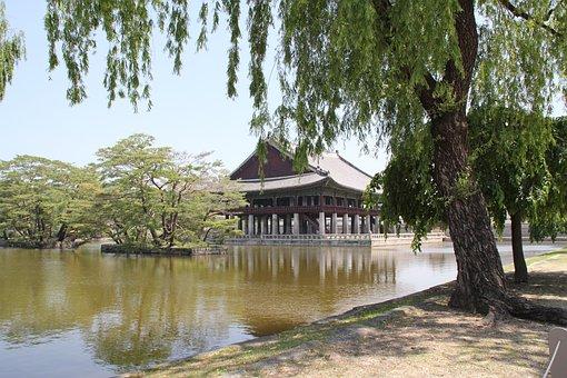Hanok, Wood, Nature, Water, Pond, Korean Traditional