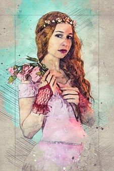 Woman, Model, Portrait, Dress, Fairy, Headdress