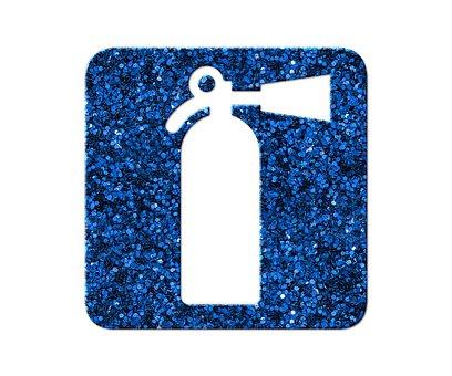 Fire Extinguisher, Blue Glitter, Icon, Glitter
