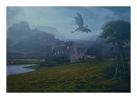 Dragon, Flying, Sky, Clouds, Mountains, Castle, Light