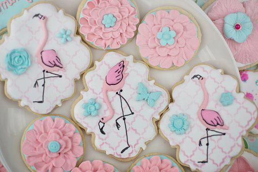 Cookies, Flamingos, Flowers, Pastry, Baked, Royal Icing