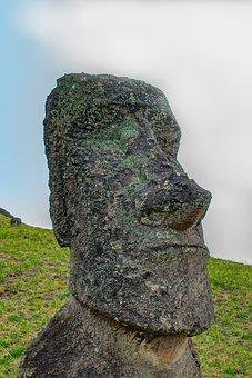 Head, Statue, Easter Island, Rapa Nui, Moai, Chile