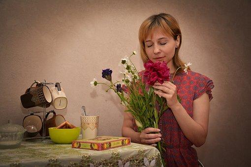 Woman, Flowers, Bouquet, Portrait, Girl, Smelling