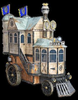 Steampunk, Vehicle, Steam Engine, Technology, Steamhaus