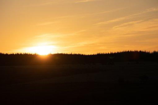 Sunset, Sky, Mountains, Silhouette, Sun, Sunlight