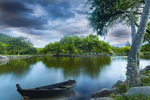 Lake, Boat, Trees, Bank, Reflection, Water, Canoe