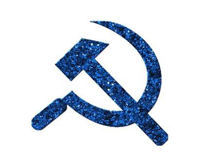 Hammer And Sickle, Blue Glitter, Symbol, Ussr