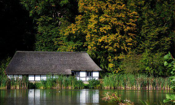 House, Lake, Forest, Building, Reflection, Water, Trees
