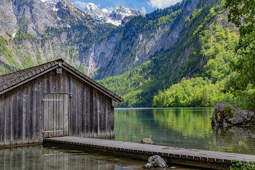 Königssee, Mountains, Lake, Cabin, Cottage, Water