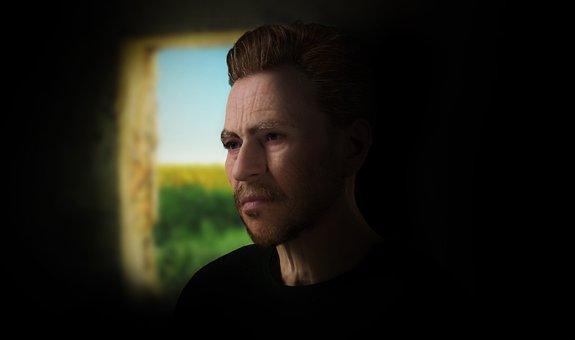 Man, Wrinkles, Window, Artist, Van Gogh, 3d, Render
